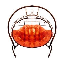 """Кресло подвесное """"Улей"""" ЦВЕТ: Коричневый; ПОДУШКА: ОРАНЖЕВЫЙ, Цвет товара: Коричневый/Оранжевый"""