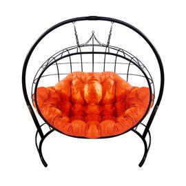 """Кресло подвесное """"Улей"""" ЦВЕТ: ЧЁРНЫЙ; ПОДУШКА: ОРАНЖЕВЫЙ, Цвет товара: Чёрный / Оранжевый"""