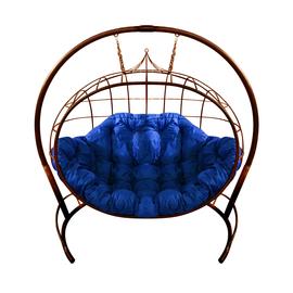 """Кресло подвесное """"Улей"""" ЦВЕТ: Коричневый; ПОДУШКА: УЛЬТРАМАРИН, Цвет товара: Коричневый/Ультрамарин"""