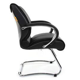 Офисное кресло для посетителей Chairman 445 Черная кожа, Цвет товара: Черный, изображение 4