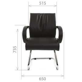 Офисное кресло для посетителей Chairman 445 Черная кожа, Цвет товара: Черный, изображение 5