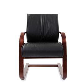 Офисное кресло для посетителей Chairman CH 445 WD кожа черная матовая, Цвет товара: Черный матовый, изображение 3