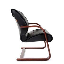 Офисное кресло для посетителей Chairman CH 445 WD кожа черная матовая, Цвет товара: Черный матовый, изображение 4