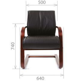 Офисное кресло для посетителей Chairman CH 445 WD кожа черная матовая, Цвет товара: Черный матовый, изображение 5