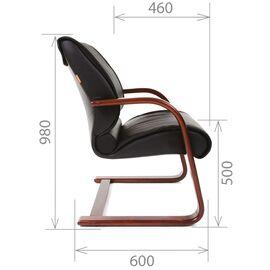 Офисное кресло для посетителей Chairman CH 445 WD кожа черная матовая, Цвет товара: Черный матовый, изображение 6