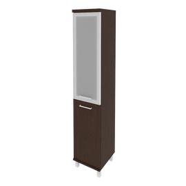 Шкаф для документов высокий узкий левый (1 низкая дверь ЛДСП, 1 средняя дверь стекло в раме) FIRST KSU-1.2L 401*432*2060 Венге, Цвет товара: Венге Цаво, изображение 2