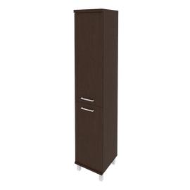 Шкаф для документов высокий узкий левый/правый (1 низкая дверь ЛДСП, 1 средняя дверь ЛДСП)FIRST KSU-1.3 401*432*2060 Венге, Цвет товара: Венге Цаво, изображение 2