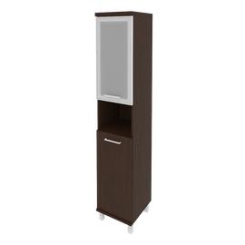 Шкаф для документов высокий узкий левый/правый (1 низкая дверь ЛДСП, 1 низкая дверь стекло в раме)FIRST KSU-1.4R 401*432*2060 Венге, Цвет товара: Венге Цаво, изображение 2