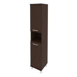 Шкаф для документов высокий узкий левый/правый (2 низкие двери ЛДСП) FIRST KSU-1.5 400*430*2060 Венге, Цвет товара: Венге Цаво, изображение 2