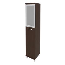 Шкаф для документов высокий узкий левый/правый (1 средняя дверь ЛДСП, 1 низкая дверь стекло в раме)FIRST KSU-1.7R 400*430*2060 Венге, Цвет товара: Венге Цаво, изображение 3