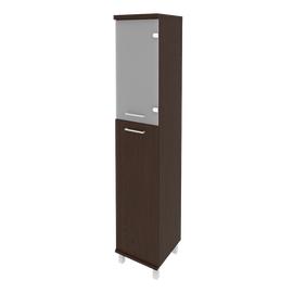 Шкаф для документов высокий узкий левый/правый (1 средняя дверь ЛДСП, 1 низкая дверь стекло) FIRST KSU-1.7 400*430*2060 Венге, Цвет товара: Венге Цаво, изображение 2