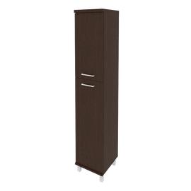 Шкаф для документов высокий узкий левый/правый (1 средняя дверь ЛДСП, 1 низкая дверь ЛДСП) FIRST KSU-1.8 400*430*2060 Венге, Цвет товара: Венге Цаво, изображение 2