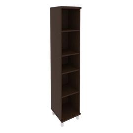 Шкаф для документов высокий узкий левый/правый (1 низкая дверь ЛДСП, 1 низкая дверь стекло в раме)FIRST KSU-1.4R 401*432*2060 Венге, Цвет товара: Венге Цаво, изображение 3