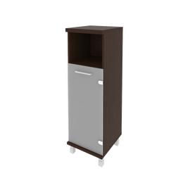 Шкаф для документов средний узкий левый/правый (1 низкая дверь стекло) FIRST KSU-2.2 401*432*1260 Венге, Цвет товара: Венге Цаво, изображение 2
