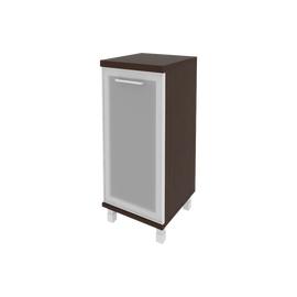 Шкаф для документов низкий узкий левый/правый (1 низкая дверь стекло в раме) FIRST KSU-3.2R 400*430*960 Венге, Цвет товара: Венге Цаво, изображение 2