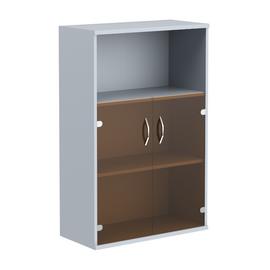 Шкаф для документов средний ( с малыми стеклянными дверьми ) IMAGO SKYLAND СТ-2.2 Металлик 770х365х1200, Цвет товара: металлик, изображение 2