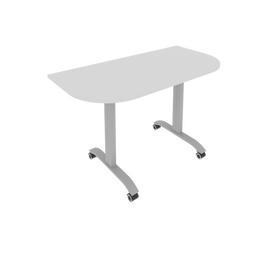Стол прямой письменный радиусный складной мобильный Mobile System Riva СМ-4.1 Серый 1300*650*757, Цвет товара: Серый