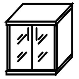 Шкаф для документов низкий ( со стеклянными дверьми ) СТ-3.2 Французкий Орех  770х365х823, Цвет товара: Орех, изображение 2