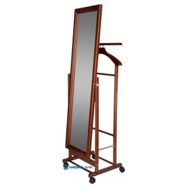 Вешалка костюмная с зеркалом В 24Н Mebelik Средне-коричневый 480х350х1370, Цвет товара: Средне-коричневый, изображение 3