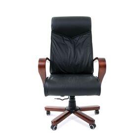 Компьютерное кресло для руководителя Chairman 420 WD Натуральная кожа черного цвета, Цвет товара: Черный, изображение 5
