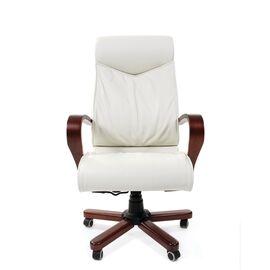 Компьютерное кресло для руководителя Chairman 420 WD Натуральная кожа белого цвета, Цвет товара: Белый, изображение 2