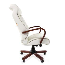 Компьютерное кресло для руководителя Chairman 420 WD Натуральная кожа белого цвета, Цвет товара: Белый, изображение 3