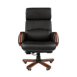 Компьютерное кресло для руководителя Chairman 417 натуральная кожа и деревянные элементы, Цвет товара: Черный, изображение 2