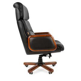 Компьютерное кресло для руководителя Chairman 417 натуральная кожа и деревянные элементы, Цвет товара: Черный, изображение 3