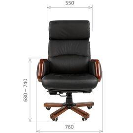 Компьютерное кресло для руководителя Chairman 417 натуральная кожа и деревянные элементы, Цвет товара: Черный, изображение 4
