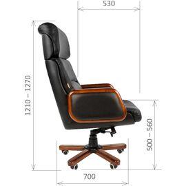 Компьютерное кресло для руководителя Chairman 417 натуральная кожа и деревянные элементы, Цвет товара: Черный, изображение 5