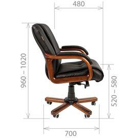 Компьютерное кресло для руководителя Chairman 653 M низкая спинка для конференц-залов и переговоров, Цвет товара: Черный, изображение 5