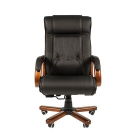 Компьютерное кресло для руководителя Chairman 653 натуральная кожа и деревянные элементы, Цвет товара: Черный, изображение 2