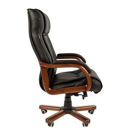 Компьютерное кресло для руководителя Chairman 653 натуральная кожа и деревянные элементы, Цвет товара: Черный, изображение 3