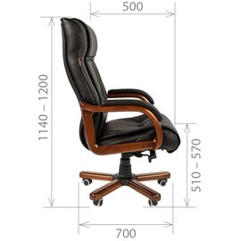 Компьютерное кресло для руководителя Chairman 653 натуральная кожа и деревянные элементы, Цвет товара: Черный, изображение 4