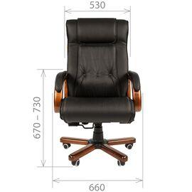 Компьютерное кресло для руководителя Chairman 653 натуральная кожа и деревянные элементы, Цвет товара: Черный, изображение 5