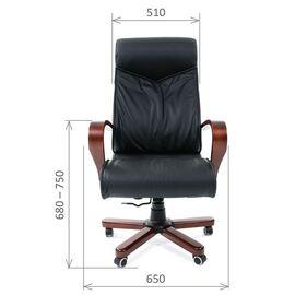 Компьютерное кресло для руководителя Chairman 420 WD Натуральная кожа черного цвета, Цвет товара: Черный, изображение 2