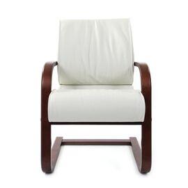 Офисное кресло для посетителей Chairman CH 445 WD кожа белая, Цвет товара: Белый, изображение 5