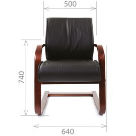 Офисное кресло для посетителей Chairman CH 445 WD кожа белая, Цвет товара: Белый, изображение 3