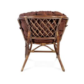 Комплект кофейный из ротанга БАГАМА 03/10 Б (S) (стол, 2 кресла, диван, подушка твил) Ecodesign, Цвет товара: Темно коричневый/Темно коричневый, изображение 2