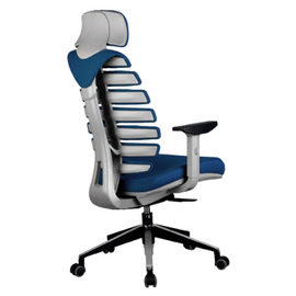 Компьютерное кресло для руководителя Riva Chair Shark Серый пластик/Синяя ткань (26-21), Цвет товара: Синий, изображение 4