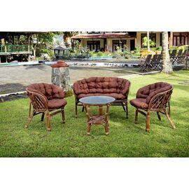 Комплект кофейный из ротанга БАГАМА 03/10 Б (S) (стол, 2 кресла, диван, подушка твил) Ecodesign, Цвет товара: Темно коричневый/Темно коричневый, изображение 8