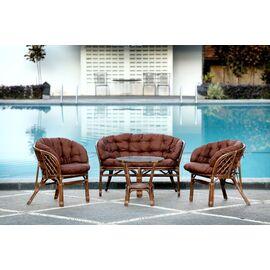 Комплект кофейный из ротанга БАГАМА 03/10 Б (S) (стол, 2 кресла, диван, подушка твил) Ecodesign, Цвет товара: Темно коричневый/Темно коричневый, изображение 9