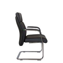 Офисное кресло для посетителей Riva Chair С1511 нат.кожа черный (А8), Цвет товара: Черный, изображение 3