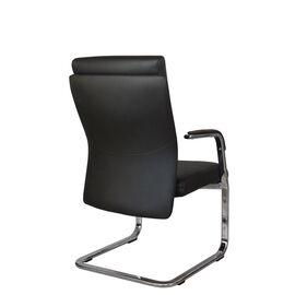 Офисное кресло для посетителей Riva Chair С1511 нат.кожа черный (А8), Цвет товара: Черный, изображение 4