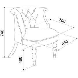 Кресло Бархат (эмаль белая / кожзам 4 кремовый) Red Black, Цвет товара: кремовый, изображение 2