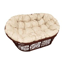 Кресло Mamasan Patio-23-02 met 1 цвет плетения Коричневый, цвет подушки бежевый EcoDesign, Цвет товара: Темно коричневый/Бежевый, изображение 2