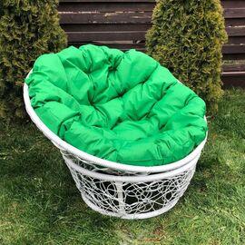 Кресло Papasan Patio-23-01 met 5 цвет плетения белый, цвет подушки зеленый EcoDesign, Цвет товара: Белый / Зелёный, изображение 2
