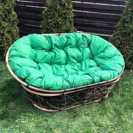 Кресло Mamasan Patio-23-02 met 11 цвет плетения светло-Коричневый, цвет подушки зеленый EcoDesign, Цвет товара: Светло-коричневый/Зеленый, изображение 2