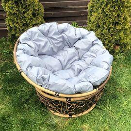 Кресло Papasan Patio-23-01 met 12 цвет плетения светло-Коричневый, цвет подушки серый EcoDesign, Цвет товара: Коньячный/Серый, изображение 2