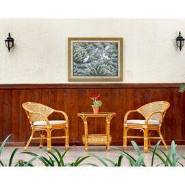 Комплект кофейный из ротанга (стол Пеланги-02/15А и 2 кресла Java-11/24-В (2) К) Коньячный Ecodesign, изображение 2